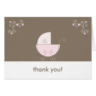Carriage Baby Shower Thank You - Pink Cards