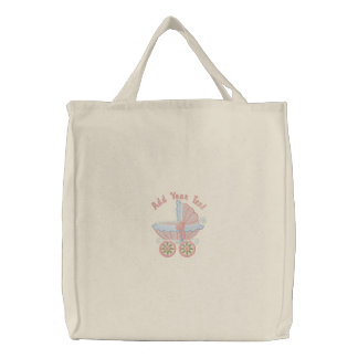 Carriage Mom To Be - Pink Embroidered Tote Bag