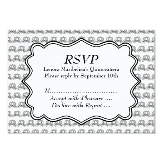 Carriage Pattern Quinceanera Card