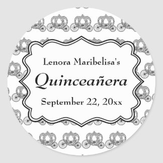 Carriage Pattern Quinceanera Classic Round Sticker