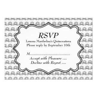 Carriage Pattern Quinceanera Custom Invitations