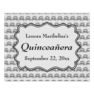 Carriage Pattern Quinceanera Posters