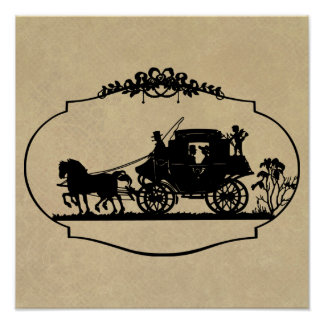 Carriage Ride With Cupid Apparel and Gifts Poster