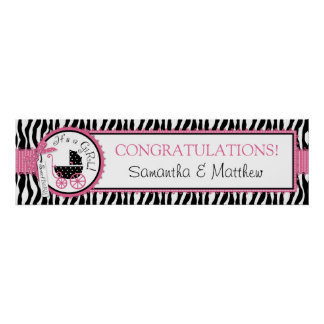 Carriage, Zebra Print, Hot Pink Baby Shower Banner Poster