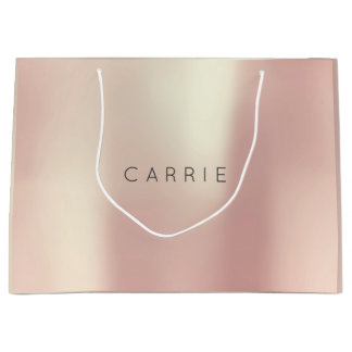 CARRIE Rose Gold Blush Pearly Minimal Gift Large Gift Bag