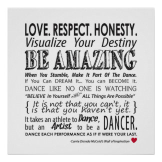 Carrie's Inspirational Dance Quotes Poster- White Poster