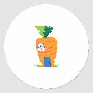 Carrot House Round Sticker