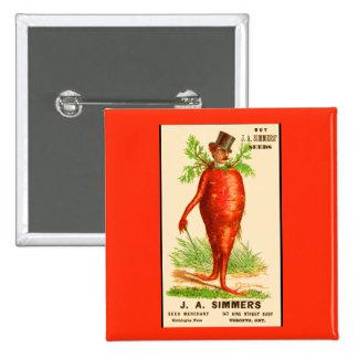 carrot man Victorian trade card 15 Cm Square Badge