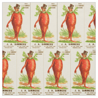carrot man Victorian trade card Fabric