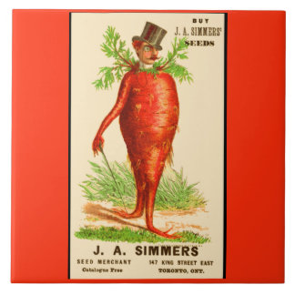 carrot man Victorian trade card Large Square Tile