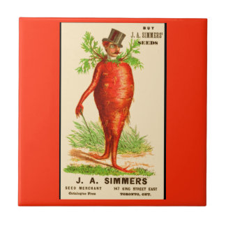 carrot man Victorian trade card Small Square Tile