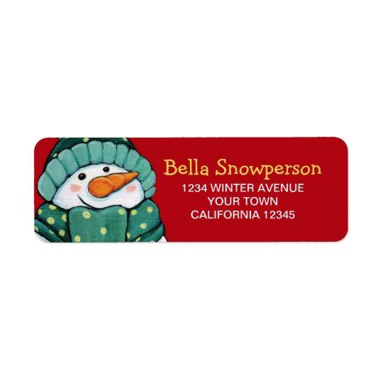 Carrot Nose Snowman in Green Illustration Return Address Label