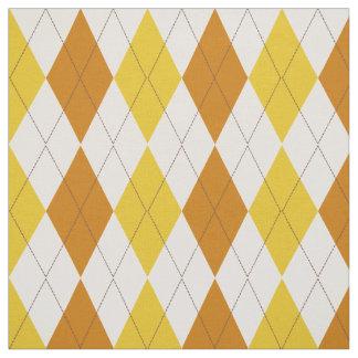 Carrot Orange | Cream | Yellow Argyle Pattern Fabric
