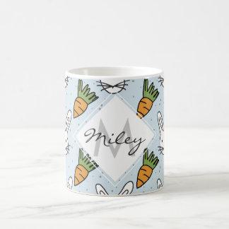Carrots and Bunny Pattern On A Blue Background Basic White Mug