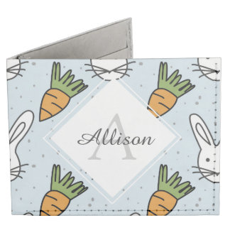 Carrots and Bunny Pattern On A Blue Background