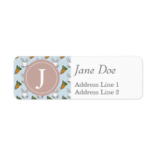 Carrots and Bunny Pattern On A Blue Background Return Address Label