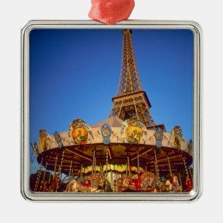 Carrousel, Eiffel Tower, Paris, France Silver-Colored Square Decoration