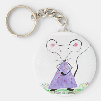 Carry key Plume of mouse in spring Basic Round Button Key Ring