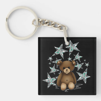 Carry-key square Teddy and stars Key Ring