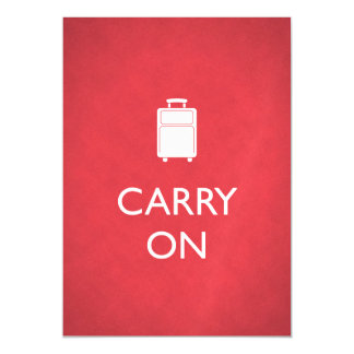 CARRY ON - Luggage - Funny Red Magnetic Invitations