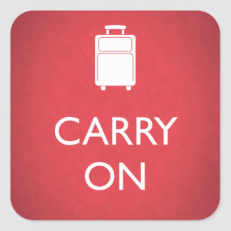 CARRY ON - Luggage - Funny Red Square Sticker