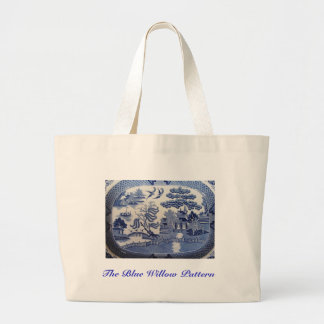 Carry the Blue Willow Pattern  at all Times Large Tote Bag