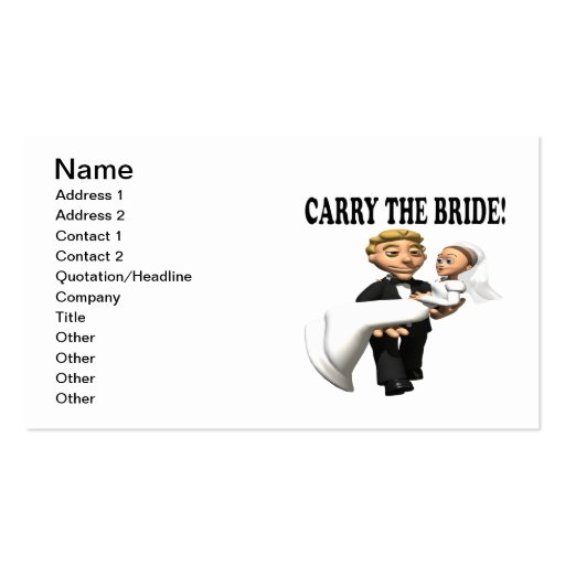 Carry The Bride 2 Business Card Template