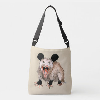 Carrying bag with handpainted opossum