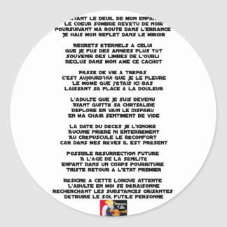 Carrying the Mourning of my Childhood - Poem Classic Round Sticker