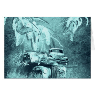 cars and butterflies at night horizontal card