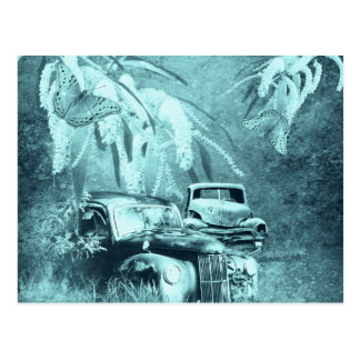 cars and butterflies at night horizontal postcard