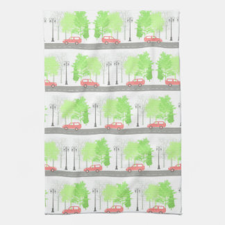 Cars and trees kitchen towel