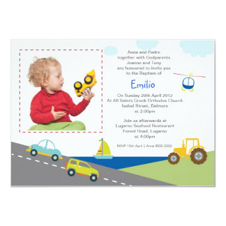Cars and Trucks Baptism Invitations