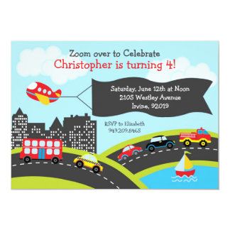 Cars and Trucks Birthday Party Invitation