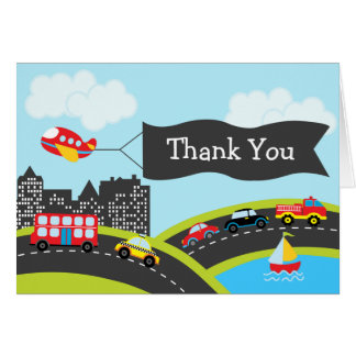 Cars and Trucks Thank You Card