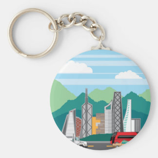Cars city landscape key ring
