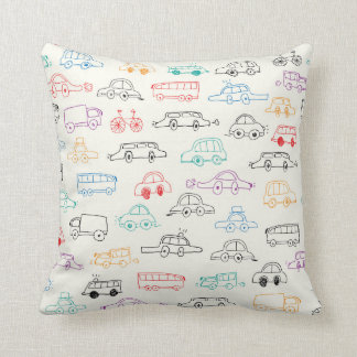 Cars doodles pattern design for pillow throw cushion