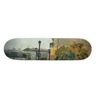 Cars in a residential neighbourhood skate board decks