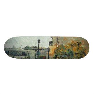 Cars in a residential neighbourhood skateboards