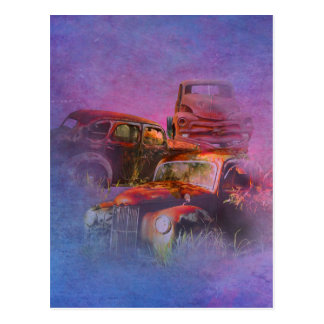 cars lost in jungle vertical postcard