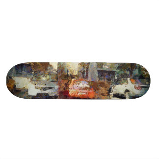 Cars parked skate boards