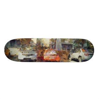 Cars parked skateboard decks