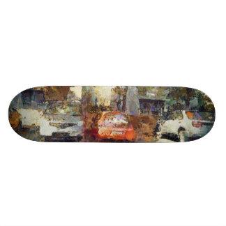 Cars parked skateboards