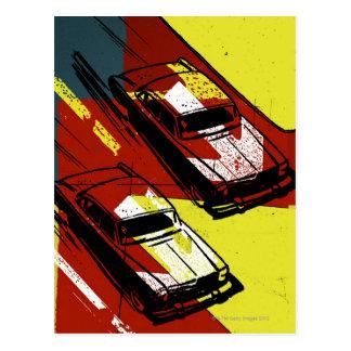 Cars Racing Postcard