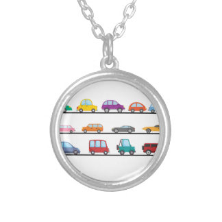 cars silver plated necklace