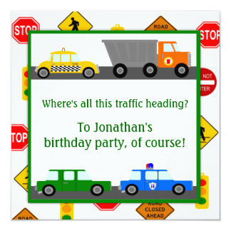 Cars, Trucks and Street Signs Children's Birthday 13 Cm X 13 Cm Square Invitation Card
