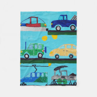 Cars, Trucks and Trains by William Fleece Blanket