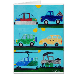 Cars, Trucks and Trains by William Greeting Card