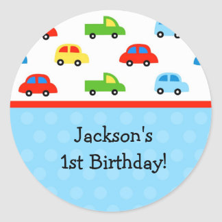 Cars Trucks Birthday Party Thank you Stickers