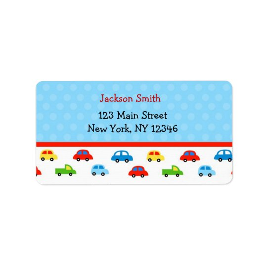 Cars Trucks Return Address Labels Kids Boy